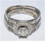 10K White Gold Round Diamond Halo Engagement/Wedding Ring Set sz 5.25